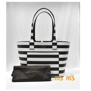 NWT Kate Spade Reversible Leather Striped Tote Bag